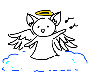 Neko Angel singing on a blue cloud