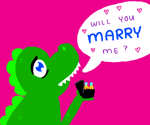 Dinosaur about to propose with 2 rings