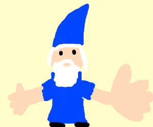 Wizard with a huge hand