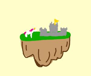 castle and unicorn on floating island