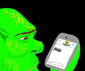 Sad Shrek got a text from a girl
