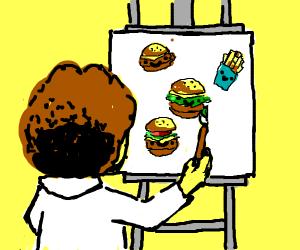 Chubby Bob Ross draws happy little burgers