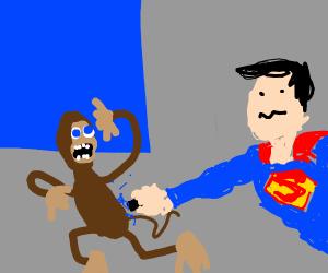 superman tasering a monkey