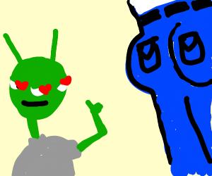 Pervy alien checks out a man's perky buns