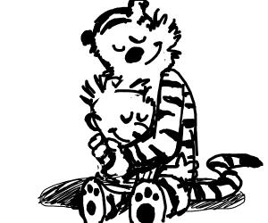 Calvin hugging Hobbes