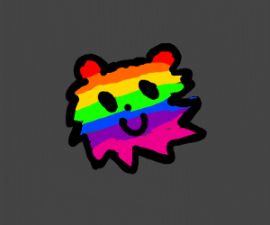 LGBT flag but In the shape of a lion