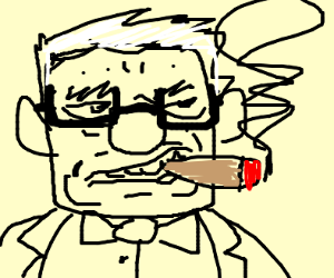 old man from up smoking a cig