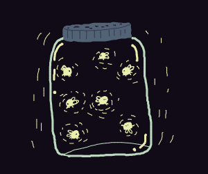fireflies in a candy jar
