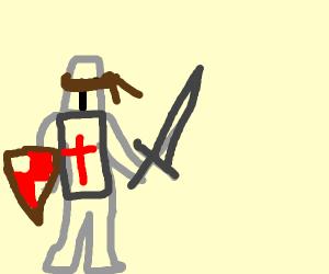 Swordsman blindfolded