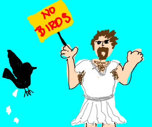 man in white dress protests against birds