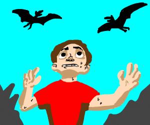 pterodactyls circling a guy