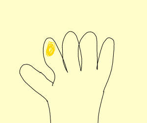Hand with one yellow fingernail