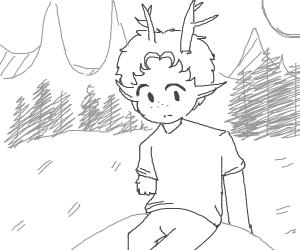 Deer human hybrid boy in forest