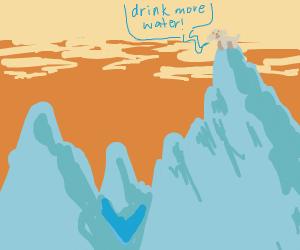 An advice doggo on a mountain