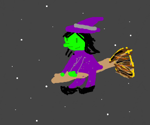 witch on broomstick