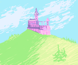 Pretty pink castle on top of a hill