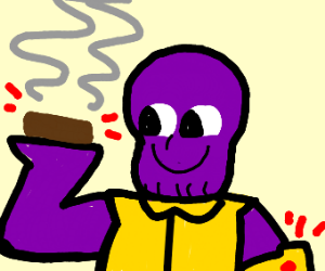 thanos makes a brownie with his gauntlet