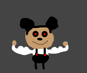 Buff Mickey mouse with red eyes