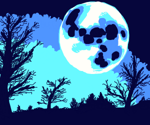 The moon above a forest of crooked trees