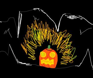 Jack'o lantern illuminating a cave