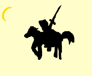 Silhouette of tired knight mounted on a horse