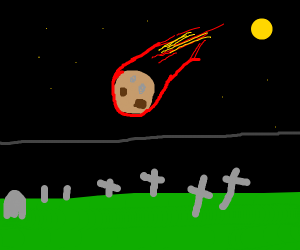 Meteor crashes in a cemetery