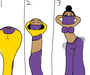 Snake becomes belly dancer