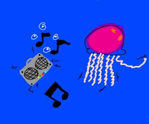 Jellyfish raving to boombox music