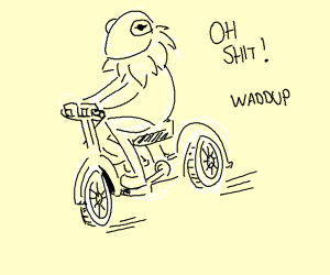 Kermit on a bicycle