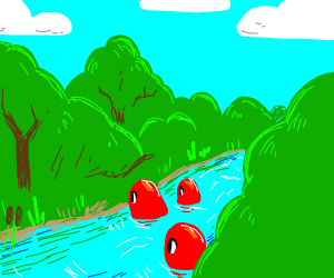 red blobs crossing a river