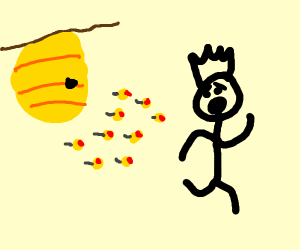 Stickman Running from Bees
