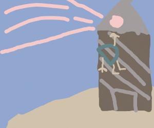 drawception D hanging off a lighthouse