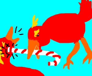 bird fights with a candy cane