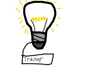 """A lightbulb laveled """"trainer"""""""