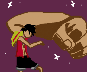 Luffy expands his arms