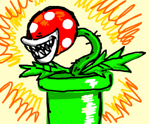 piranha plant sticking out of a pipe