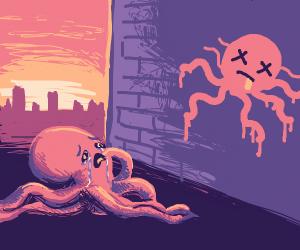 Octopus cries over dead octopus graffiti