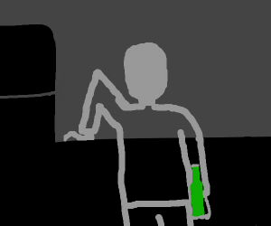 Creepy guy in a dark kitchen drinking beer