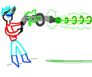 Man with a large lazer gun