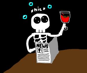 drunk skeleton reads a newspaper