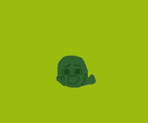 Green man in fear/shock