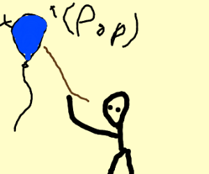 Boy pops a balloon with a stick