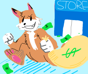 a fox steals money from a store