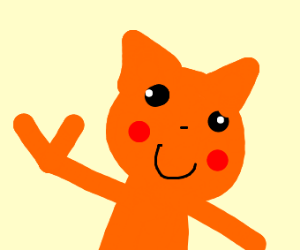 Orange Cat Pikachu with v for victory hands