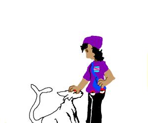 Transgender Pokémon trainer with her Espeon