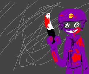 Creepy purple policeman is covered in blood.