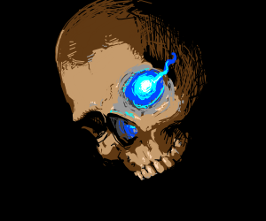 realistic skull with a glowing blue eye ;)