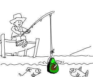 Guy fishing uses avacado as bait