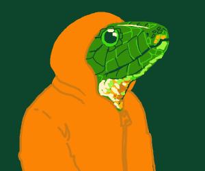 snakeman in orange hoodie