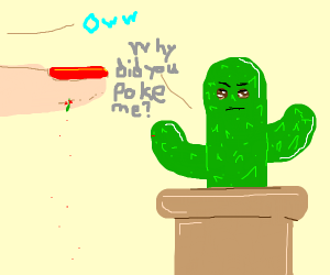Lady pricks her hand on a cactus